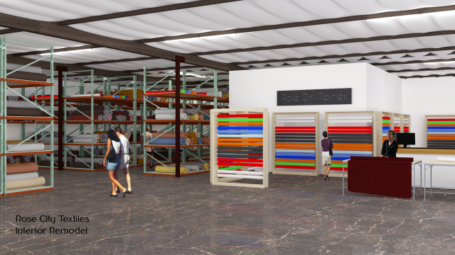 An interior render of the proposed Rose City Textiles retail space